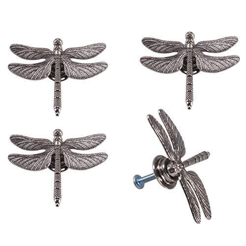 Kyien 4Pcs Village Garden Style Cute Dragonfly Design Dragonfly Shape Handles Dressing Table Drawer Cabinet Wardrobe Knobs Single Hole Pulls