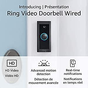 Introducing Ring Video Doorbell Wired – Convenient, essential features in a slimmed-down design, pair with Ring Chime to hear audio notifications in your home (existing doorbell wiring required) - 2021 release