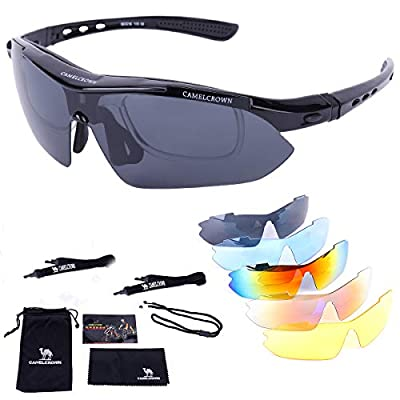 CAMEL CROWN Sports Sunglasses Polarized UV400 Protection with 5 Interchangeable Lenes for Cycling Fishing Driving Sun Glasses