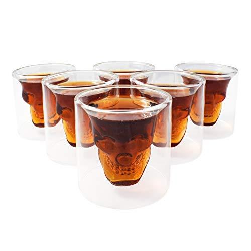 Kemes Totenkopf Glas 6 x 25ml Set Skull Head Totenkopfglas Schnapsglas Pinnchen für Vodka Whiskyglas (6, 25 ML)