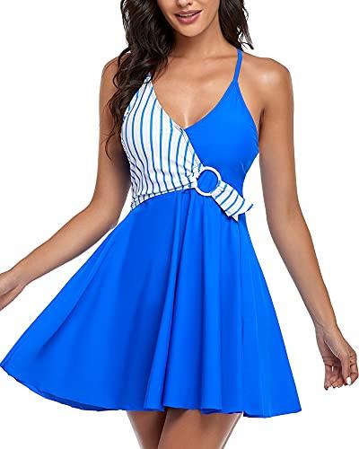Damen Badekleider Tankini Set Rückenfrei Badeanzug Rock V Ausschnitt Bademode Mit Slip Farbblock Swimsuit (Blaue Streifen M)