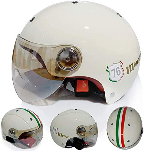 QDY Casco de Motocicleta de Estilo de Dibujos Animados Retro, Casco de Moto de Cara Abierta Vintage Casco de Calavera Street Electric Moped Jet Bobber Pilot Crash Scooter Medio Casco para ho