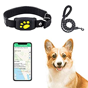 Pet GPS Tracker Device WaterproofReal Time Tracking Collar Device APP Control for Dog and Cat Activity Monitor Mini Locator USB Charging Help Find and Keep Safe (Black)