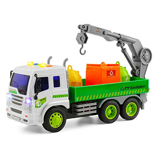 Gizmovine Truck Toys Friction Powered Vehicles Garbage Truck Construction Car 360°Crane with Lights and Sounds, Dump Truck Toy for Toddlers boy Age 5, 4, 3, 2 , 1:16 Scale