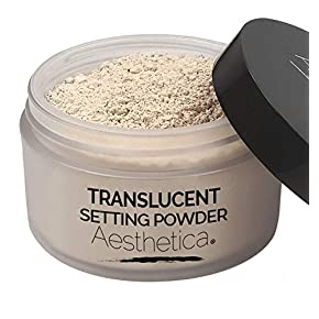 Aesthetica Translucent Setting Powder – Matte Finishing Makeup Loose Setting Powder – Flash Friendly Translucent Powder Foundation – Loose Face Powder Includes Velour Puff