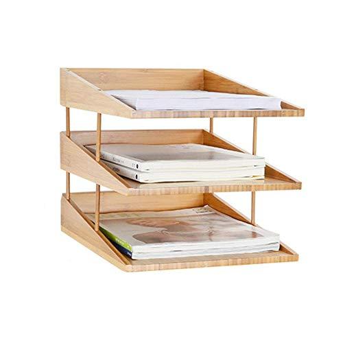 AGWa Porta archivos Archivador, Bandejas para cartas Revistero Suministros de oficina, Librero Caja de almacenamiento de escritorio Estante de exhibición de libros de bambú Bastidor de almacenamiento