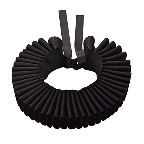 GRACEART Renacimiento Isabelino Volante Fruncido Cuello Collar (Negro)