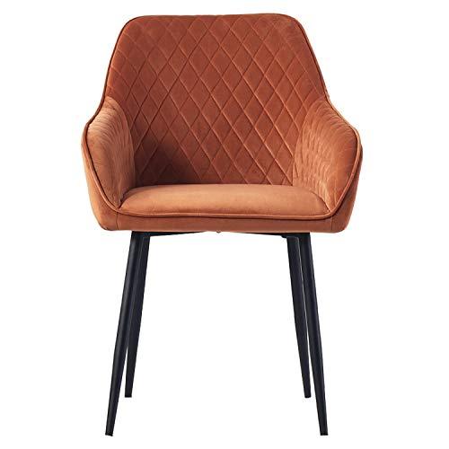 AINPECCA 1X Dining chair Orange Velvet Armchair with Armrest & Backrest Upholstered seat with Black Metal legs
