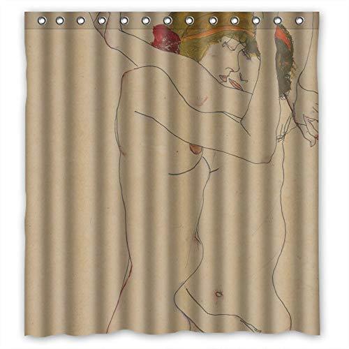 N\A Die Egon Schiele Kunst Malerei Valentinstag Duschvorhänge aus Polyester Dekoration Geschenk für Frau Kinder Geburtstag benutzerdefinierte Ehemann.