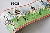 Borde del papel pintado Partido de fútbol infantil Auto Adhesivo del Papel Pintado del PVC Cenefa autoadhesiva para decoración de pared de cocina,...