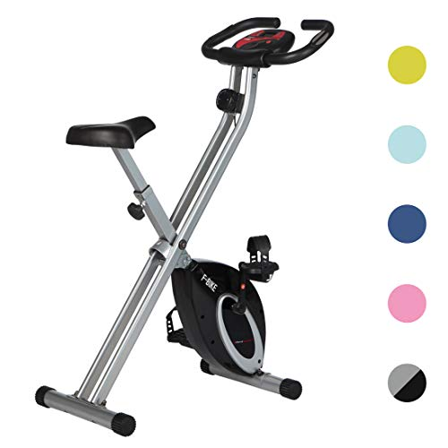 Ultrasport F-Bike Design, Cyclette da Allenamento, Home Trainer, Fitness Bike Pieghevole con Sella in Gel, con Portabevande, Display LCD, Sensori delle Pulsazioni Unisex Adulto, Fino a 100 kg