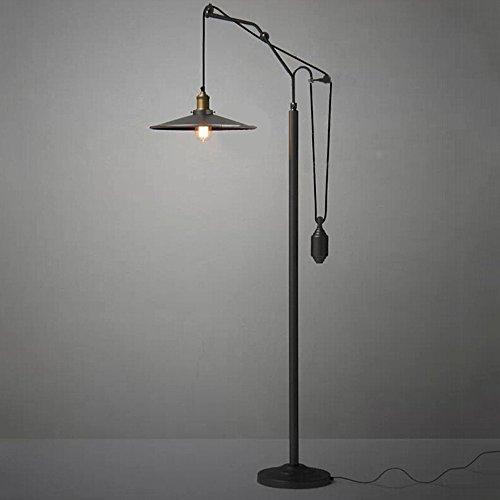 Neilyn Retro Black Metal Floor Lamp Vintage Industrial Lift Lighting Fixture for Living Room Bedroom Bedside Lamp