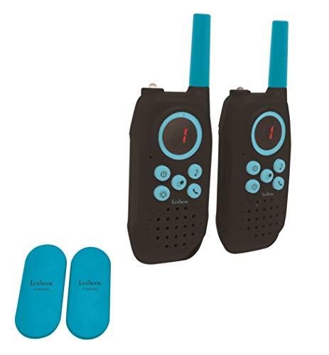 LEXIBOOK exte Par de walkie talkies, Rango transmisión de 5km, Sonido Digital, Juego de comunicación para Interiores y Exteriores, Clip para cinturón, Negro, TW42_01, Color