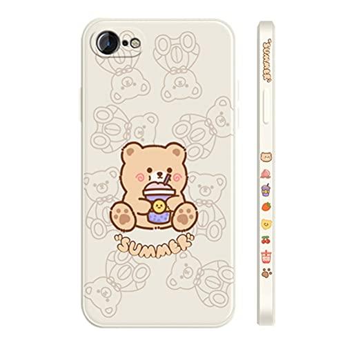 MOONCASE Cover per iPhone 7, Ultra Sottile Morbido Motivo Anime Stampa Laterale Cover TPU Antiurto Custodia Protettiva per iPhone 7/8/SE (2020) 4.7' -Orso Bianco