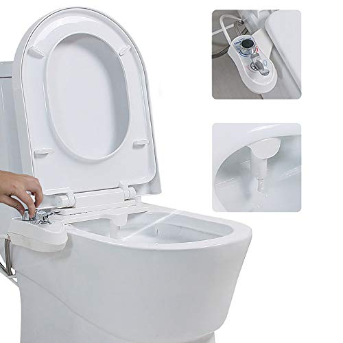 Bidet Attachment Cold Water Spray with Self-Cleaning Nozzle,No Electricity,Easy to Fit,Toilet Bidet for Hygienic Personal Care,Female Cleaning, Cleans Your Rear,White-1/2