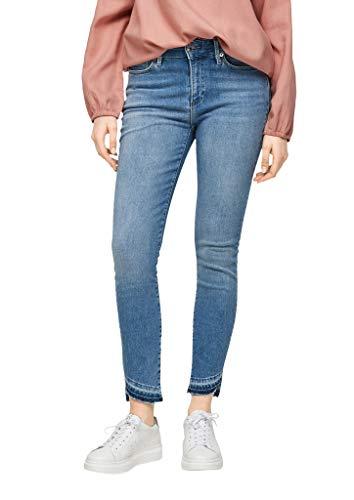 s.Oliver Damen Skinny Fit: Jeans mit Fransensaum light blue 44