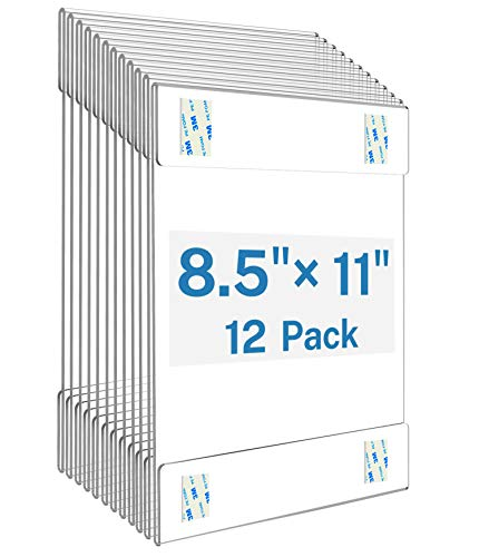 MaxGear Acrylic Sign Holder 8.5 x 11 Sign Holders Plastic Frames Clear Frame 8.5x11 Wall Mount Sign Holder Wall Sign Holder with 3M Tape Adhesive for Plexiglass, Flyer, Poster, Door, Document, 12 Pack