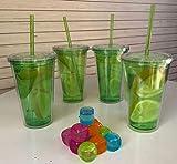 Set de 4 vasos plasticos de acrilico doble pared con tapa enrroscable y pajita reutilizable de 500ml - libre de BPA (VERDE)
