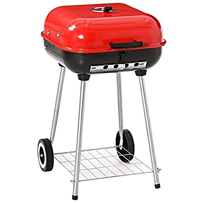 Outsunny 18'' Portable Charcoal Grill with Wheels Bottom Shelf Adjustable Vents for Picnic Camping Backyard Cooking