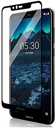 KEVAY ™ Premium 9H 5D Full Edge to Edge Curved Tempered Glass Screen Protector for Nokia 5.1 Plus (Black)