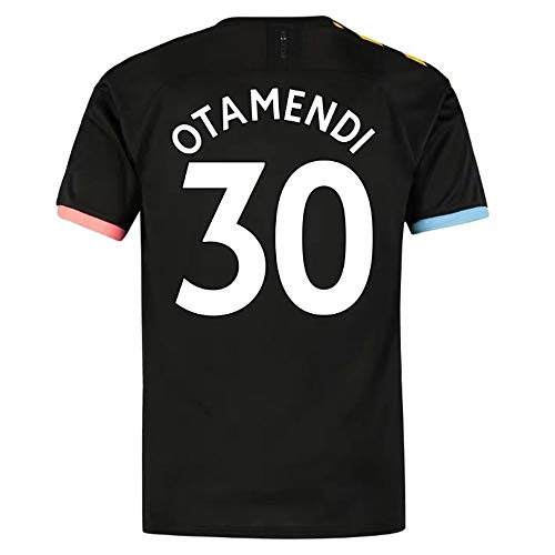 HJM Nicolás Otamendi #30 Uomini Maglia da Calcio -Traspirante, Asciugatura Rapida,Black-XS