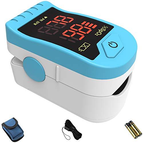 CHOICEMMED Light Blue Finger Pulse Oximeter - Blood Oxygen Saturation Monitor - SPO2 Pulse Oximeter - Portable Oxygen Sensor with Included Batteries - O2 Saturation Monitor with Carry Pouch