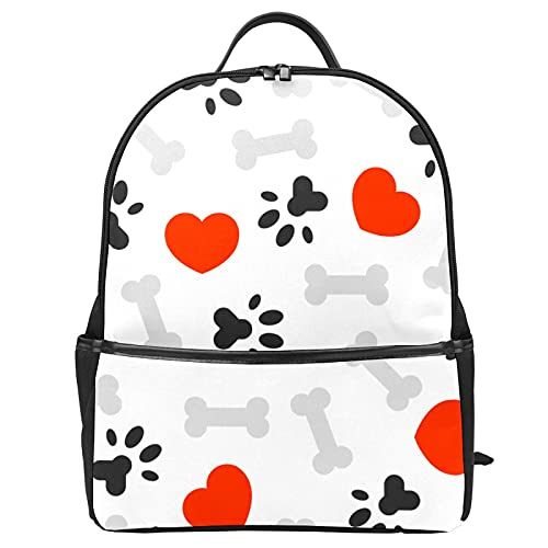 Mochila escolar con diseño de huesos de huellas de perro, mochila de viaje para mujeres, adolescentes, niños, niñas, escuela, mochila para ordenador portátil para el trabajo