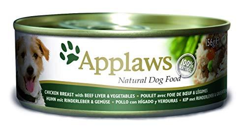 Applaws kip met rundlever/groenten en rijst hondenvoer blik, 12 x 156 g