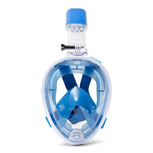 BESTWAY - Máscara de Snorkel L XL K2O PRO Con Tubo Incorporado Azul con Goma Elástica Ajustable, Soporte para Cámara de Acción Para Mayores de 10 Años