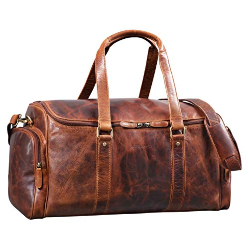 STILORD 'Myles' Vintage Travel Bag Men's Leather Weekender voor het dragen van Overnight Duffle Bag Large Luggage XL echte koeienhuid, Kleur:kara - cognac
