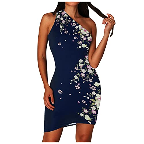 Lalaluka Bodycon - Vestido corto para mujer, sexy, sin mangas, con un hombro, estampado corto, vestido de cóctel Rosa. S