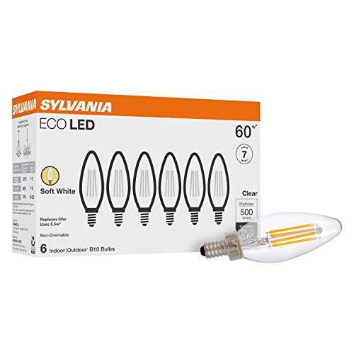 SYLVANIA ECO LED B10 Light Bulb, 60W Equivalent, Efficient 5.5W, 7 Year, 500 Lumens, Non-Dimmable, Clear, 5000K Daylight - 6 Pack (40879)