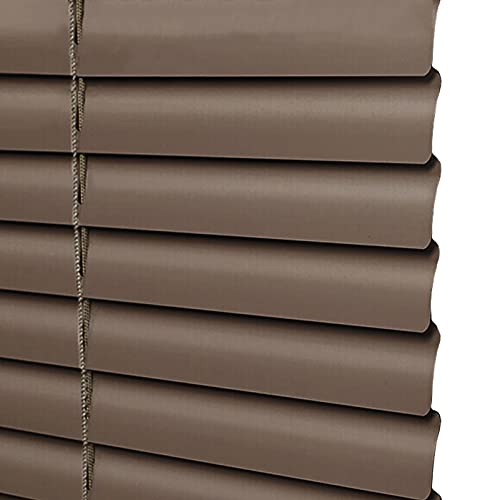 uxhbla blinds Brown Metal Window Blinds Open Close, Indoor Waterproof Aluminum Alloy Slats 1'' Blades, Living Room Privacy Shade, 63 Sizes (Color : W 130cm, Size : H 200cm)