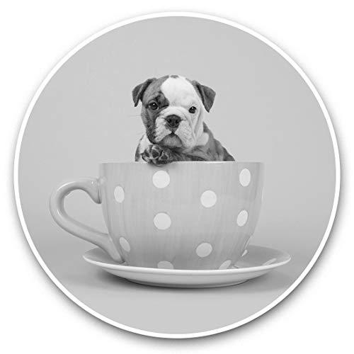 Impresionantes pegatinas de vinilo (juego de 2) 7,5 cm (bw) – English Bulldog Teacup perro cachorro divertido calcomanías para computadoras portátiles, tabletas, equipaje, libros de chatarra, neveras, regalo genial #42840