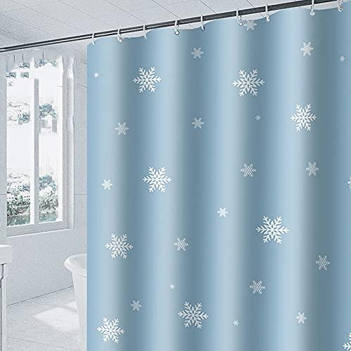 AFDSJJDK Duschvorhänge für Badezimmer Verdicktes Polyestertuch Schneeflocke bedruckter Duschvorhang WC-Badezimmer-Duschabdeckung wasserdichte Badabdeckung