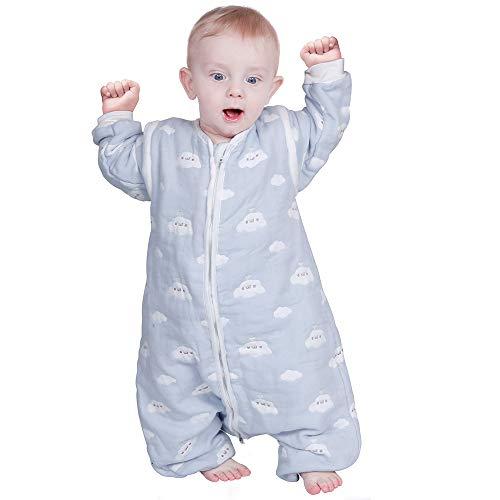 Lictin Schlafsack mit Füße Schlafsack Baby mit abnehmbaren Ärmeln für Säugling Kinder von 85 bis 105 cm 100% Bio-Baumwolle 2.0tog