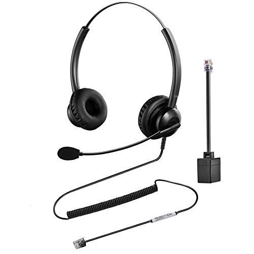 Oppetec Auriculares RJ9 para teléfono con Cable y micrófono con cancelación de Ruido compatibles con teléfonos de Avaya Mitel Polycom NEC.