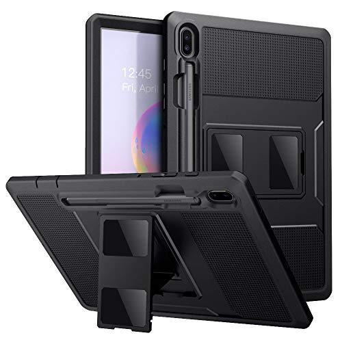 MoKo Schutzhülle für Samsung Galaxy Tab S6 10.5 2019, robust, stoßfest, Hybrid-Hülle mit integriertem Displayschutz und Stifthalter für Galaxy Tab S6 10.5 Zoll SM-T860/T865 2019, Schwarz