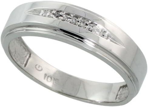 10k White Gold Mens Diamond Wedding Band Ring 0.03 cttw Brilliant Cut, 1/4 inch 6mm wide