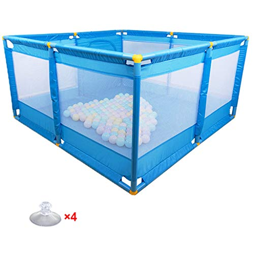 WAKTN babyhek, mesh-speelplaats met opbergtas, 66 cm veiligheidshoogte, binnen- en buitenbescherming (afmetingen: 128 x 128 cm)