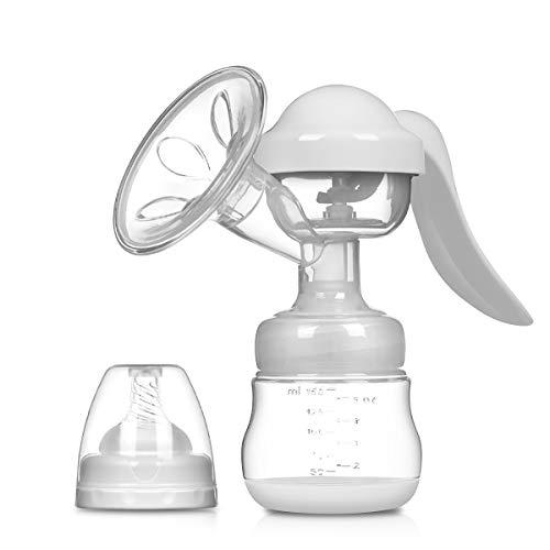 SONARIN Sacaleches Manual,Extractor de leche Transparente,libre de BPA y 100% de silicona de grado alimenticio(Blanco)