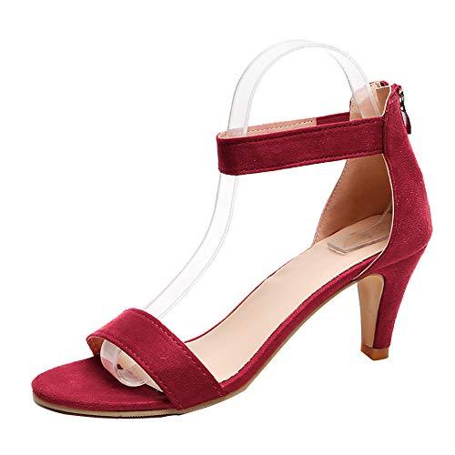 Yesgirl Sandalias Mujeres Bohemia Verano Zapatos De Playa Moda Casual Tacón Ancho Tacones Altoselegante Shoes Cuña Peep Toe Vino Rosso 41 EU