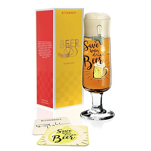 Ritzenhoff - Bicchiere da birra Dominika Przybylska (Save water), 300 ml, in cristallo, con cinque sottobicchieri