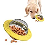 Tenmon Dog Snack Ball Frisbee Toy,IQ Therapeutic Toys,Interactive Dog Puzzle Toy, Suitable for Small Medium Larger Dogs (Yellow)