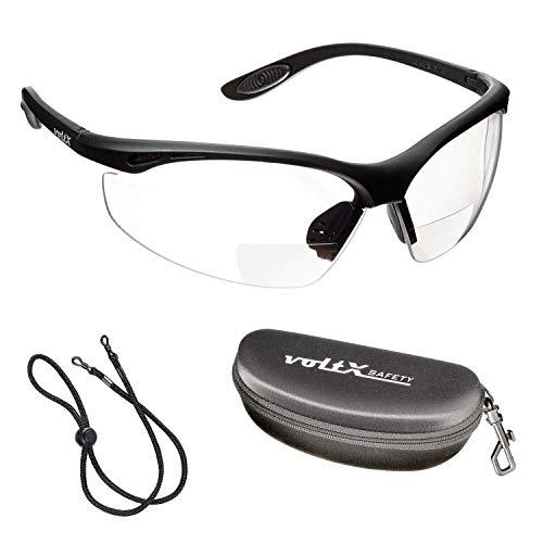 voltX 'CONSTRUCTOR' BIFOCALE VEILIGHEIDSLEESBRIL met Veiligheidskoffer (DOORZICHTIG +3.5 Dioptrie) CE EN166F Gecertificeerde/Fiets- of Sportbril inclusief veiligheidskoord + UV400 lens met anti-mist coating