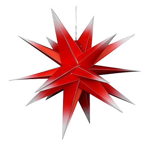 Dekohelden24 Étoile de l'Avent en plastique à déplier, Ø 80 cm avec 18 pointes, dans la couleur rouge/blanc, avec éclairage LED et adaptateur, convient pour l'intérieur et l'extérieur.
