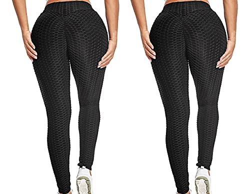 High Waisted Butt Lift Cellulite Leggings - Compression Booty Yoga Tights (Black2,M)