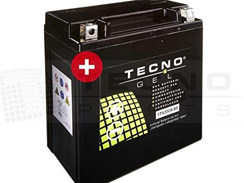 TECNO-GEL Motorrad-Batterie YTX20CH-BS für KAWASAKI VN 1500 Classic, Tourer, Drifter, Mean Streak 1999-2004, 12V Gel-Batterie 18AH, 150x87x161 mm inkl. Pfand