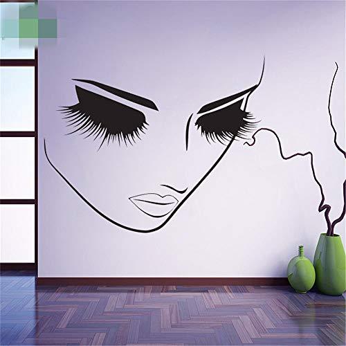 wandaufkleber sterne Lange Wimpern Mädchen Gesicht Sexy Make-up Schönheitssalons Friseur Wandtattoo Ankleidezimmer Wand