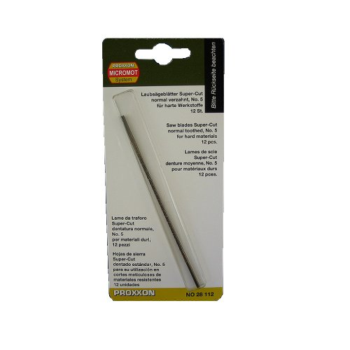 PROXXON 28112 Spuer Cut Feinschnitt Sägeblätter OHNE Querstift normal verzahnt, 12 Stück Laubsägeblätter für harte Werkstoffe wie Eisen, Pertinax